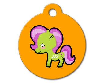 SALE Halloween Zombie Pony Pet Tag - Dog Tags for Dogs - Custom Pet ID Tag for Dogs or Cats, Personalized Dog ID Tag, Sizes Small and Large