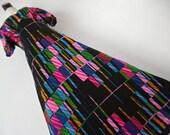 The Matrix Dress .  L . Op Art Futuristic Geometric Graphics Print Maxi Dress 1970s Wool Mix