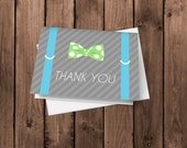 Suspenders and Bow Tie Little Mister Thank You Cards