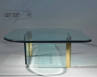 Mid Century Modern, danish, retro, vintage Coffee table brass and glass Leon Rosen for Pace