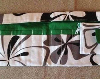 Crochet Hook Case - Canvas Holder With Pockets For Up To 11 Hooks by Sparkling Pumpkin