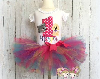 Birthday Cat and Dog Tutu Set- Kitten and Puppy Party- Rainbow tutu