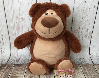Embroidered Bear Stuffed Animal- Unique Gift- Baby gift- Monogrammed custom stuffed bear