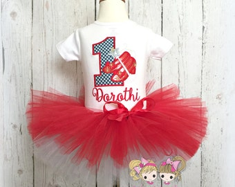 Ruby red slippers birthday outfit - oz birthday tutu outfit- wizard birthday tutu outfit- red birthday tutu- 1st birthday wizard tutu outfit