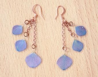 Natural Flower Jewelry - Purple Hydrangea Pressed Flower Petal Earrings