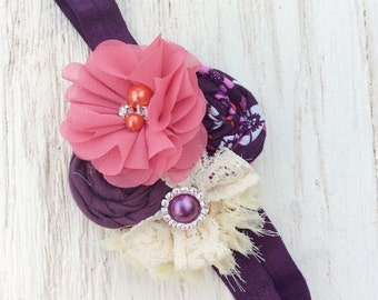 plum pink headband baby girl headband flower headband little girl big girl headband eggplant headband hair bow