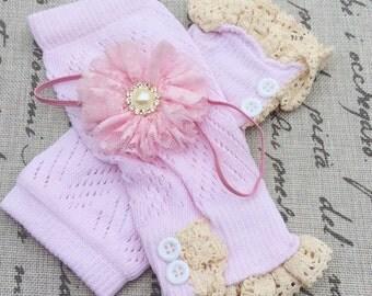 baby girl legwarmers lace leg warmers light pink ivory leg warmers ivory knit lace trim legwarmers photo prop baby legwarmers