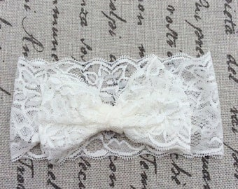 White Lace newborn headband, lace headbands, wide lace bow headbands baby girl headbands infant headband flower girl
