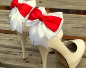 SHOE CLIPS, Red White, Satin Bow Shoe Clips, Winter Shoe Clips, Bridal Shoe Clips, Wedding Shoe Clips, Clips for Bridal Shoes, Wedding Shoes