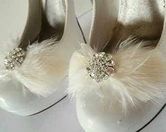 SHOE CLIPS, Wedding Shoe Clips, Feather Shoe CLips, Rhinestone Shoe Clips, Ivory Shoe Clips, White Shoe Clips, Wdding, Bridal, Clips