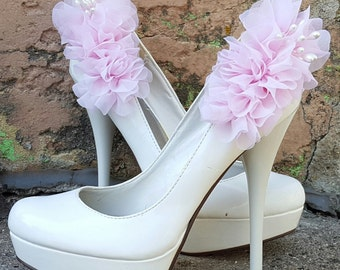 Pink Shoe Clips, Chiffon Floral, MANY COLORS, Wedding Shoe Clips, Bridal Shoe Clips for wedding soes, bridal shoes, accessories, women