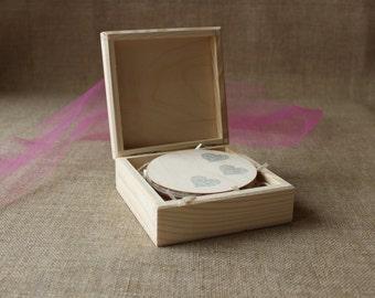 Square wooden box - set of 10 - unfinished wood box-  instagram prints box - jewelry box - photo box