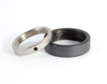 Set of two graphite and titanium wedding bands. Modern and exclusive rings. Water resistant, very durable and hypoallergenic. (01300)