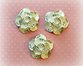 "White Rose Cabochons. White Rose Rhinestone Flat backs. 1"" Across. Set of 3."
