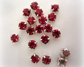 4mm Sew on Red Rhinestones . Small Red Rhinestones. 50 Pcs