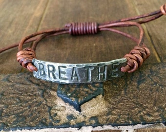 BREATHE ID Bracelet, silver, Pewter, leather, Hand Stamped, Inspirational jewelry, bracelet with words,
