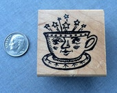 Happy Coffee Face Cup Rubber Stamp