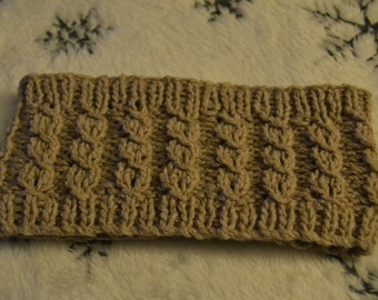 Warm oatmeal Rowan Silky Tweed luxury twist cable hand knitted earwarmer