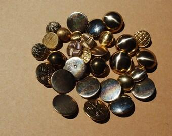 30 pieces  vintage gold metal button mix