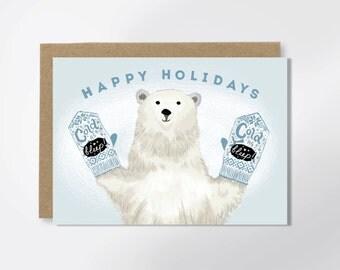 Christmas Card - Mitten Card - Cold As F-ck - Adult Greeting Card - Polar Bear Card - Funny Christmas Card - Mature - Funny Greeting Card