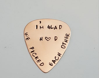 Copper Guitar Pick - WE PICKED EACH OtHER  - Personalized initials - organza gift bag for gift giving