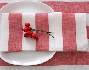 Set of 4 linen napkins Rissa Striped Red White