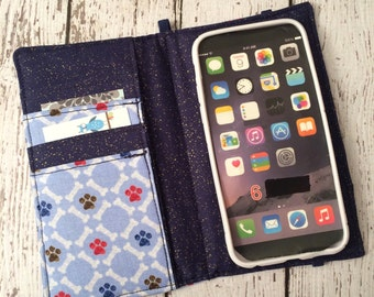 iPhone wallet, iPhone case- paw print wallet with removable gel case
