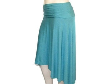 Plus Size Jersey Knit Hi-Low Skirt -Asymmetrical Hem -All Natural Fiber Jersey-Womens Made to Order Size-Choice of Color -XL,2X,3X,4X,5X,6X