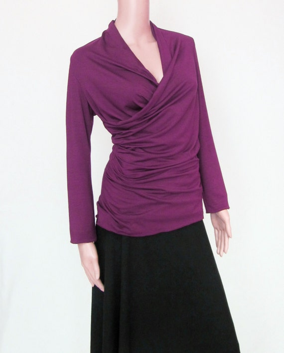 Womens Wrap Top - Draping Ruched Shirt-Eco Friendly, Natural Fiber Jersey -Made to Order-Custom Sleeve Length, Color and Size-XXS thru Large