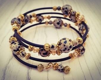 Dalmation Spot Gemstone Black and Gold Memory Wire Wrap Bohemian Gemstone Cuff Bracelet - [B6]