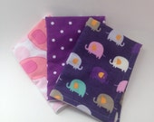 Burp Cloths / Set of 3 Double thickness flannel: Pink and Purple Elephants