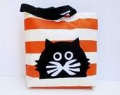 Black cat on orange and white stripped fabric tote bag, hand appliqued, shopper bag, market bag, eco friendly