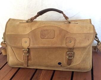 Distressed Vintage Genuine Gokey Company Tan Leather Briefcasde Messenger Bag