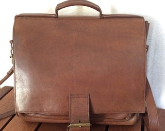 All Leather Vintage Genuine Custom Hide Brown Leather Briefcase Messenger Bag Made in USA
