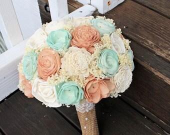 Ready to ship! Handmade Wedding Bouquet- Peach Mint Ivory Bridal Bridesmaid Bouquet, Alternative Bouquet, Keepsake Bouquet, Rustic Wedding