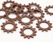 Wheel Gear Charms -50pcs Antique Copper Mechanical Gear Charm Pendants 12mm G103-1
