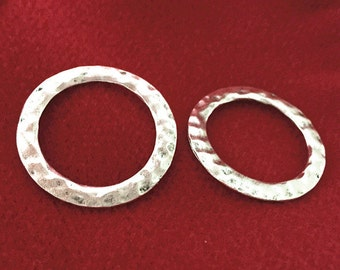 Hammered Rings -10pcs Antique Silver Ring Charm Pendants 33mm AB502-5