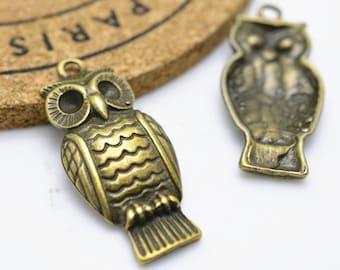 Owl Charms -10pcs Antique Bronze Bird Charm Pendant 16x31mm H406-6
