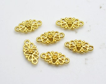 Connector Charms -50pcs Gold Plated Flower Necklace Connector Charm Pendant 8x16mm H402-1
