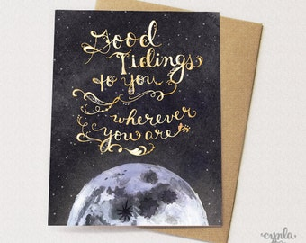Good Tidings Greeting Card - Holiday Card, Paper goods, Stationery, Stars, Moon, Neutral Holiday Card