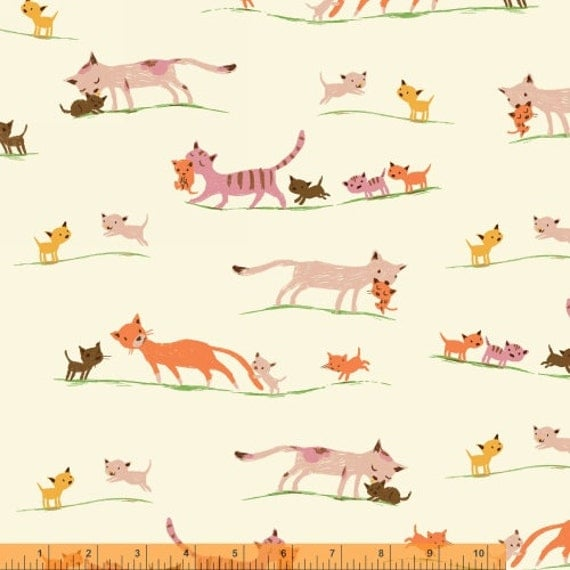 Tiger Lily Fabric Heather Ross Marching Cats, quilting cotton fabric ...