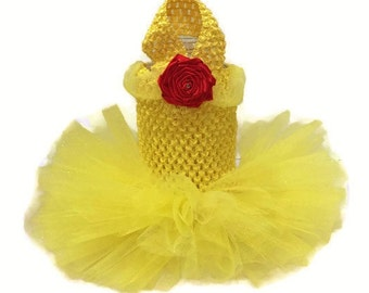 Belle Dog Costume-Belle Dog Costume-Beauty and the Beast Costume-Belle Halloween Dog Costume-Pet Costume-Yellow Dog Tutu-Yellow Dog Dress