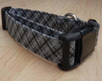 CHARCOAL gray classic plaid DOG COLLAR