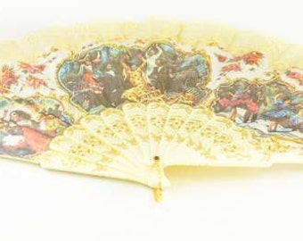 Vintage Fabric & Lace Spanish Flamenco Dancer Folding Fan