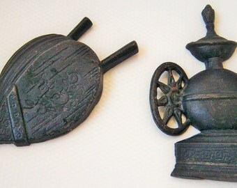 Cast Iron kitchen Wall Decor Wall hangings ~ Grinder and Bellows, Set of Two by Sexton, Mid Century