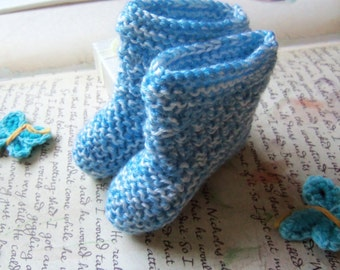 Light Blue Handmade Knitted Baby Booties. Handmade Baby Booties.