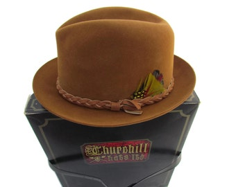 Vintage Mens Fedora Hat - Size 7 1/8 Camel Color Mans Men ChruchHill Hat With Hat Box Stetson Three Corner Hats Leather Hats