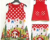 Girl's Gnome Dress, Girl's Reversible Dress, A line, Girl's Pinafore, Pinny Jumper, Children's Clothing, Girl's Clothing, Red Dress, Toddler