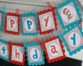 Happy Birthday Red Turquoise Blue Hat Cat Stripe Polka Dot Storybook Birthday Banner - Cupcake Toppers, Favor Tags & Door Sign Available