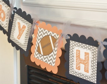"""Grey, Orange and Navy Chevron - """"Its a Boy"""" or """"Mommy to Be"""" Football Baseball or Basketball Sports Baby Shower Banner - Party Pack Specials"""